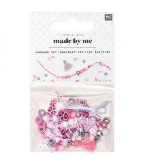 SET BRACELET MINI PERLES ROSE ET GRIS