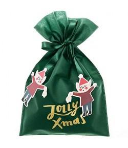 SAC EN TISSU JOLLY CHRISTMAS VERT 30X40CM