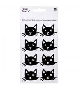 STICKERS PAILLETES CHATS NOIRS