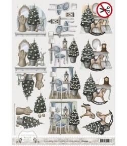 FEUILLE 3D CHRISTMAS BROCANTE SB10052