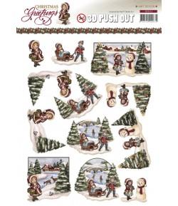 FEUILLE 3D CHRISTMAS GREETINGS SB10113