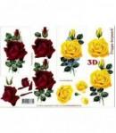 FEUILLE 3D ROSES ROUGES ET JAUNES