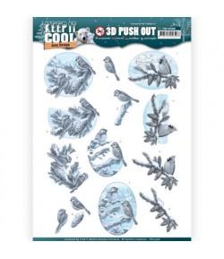 FEUILLE 3D OISEAUX HIVER - SB10308