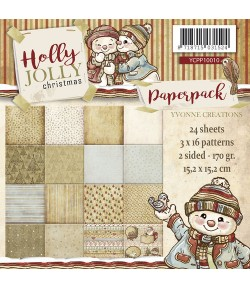 BLOC 24 FEUILLES 15 X 15 CM -  HOLLY JOLLY CHRISTMAS