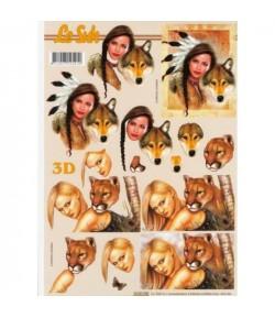 FEUILLE 3D FEMMES ET ANIMAUX
