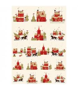 PAPIER DE RIZ CHRISTMAS HOUSES 309 35X50