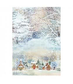 PAPIER DE RIZ SNOW VILLAGE 306 35X50