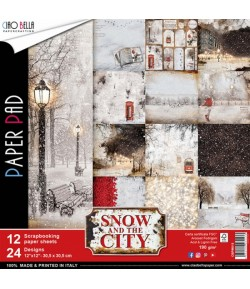 BLOC 12 FEUILLES SNOW AND THE CITY 30.5X30.5CM