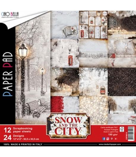 BLOC 12 FEUILLES SNOW AND THE CITY 30.5X30.5CM
