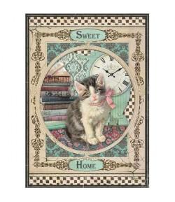 PAPIER DE RIZ SWEET HOME CAT  21 X 29.7 DFSA4353