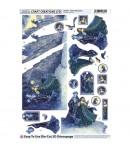FEUILLE 3D WINTER MOUNTAINS DCD553