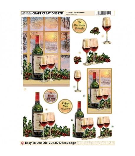 FEUILLE 3D CHRISTMAS CHEER DCD615