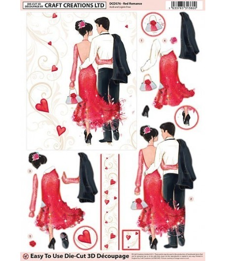 FEUILLE 3D COUPLE ROBE ROUGE