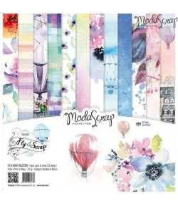 BLOC 12 FEUILLES FLY AND SCRAP MS 30.5X30.5CM