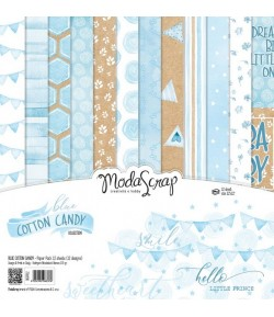 BLOC 12 FEUILLES BLUE COTTON CANDY MS 30.5X30.5CM