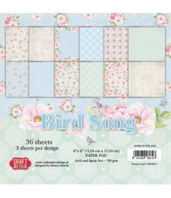 BLOC 36 FEUILLES 15 X 15 CM -  BIRD SONG