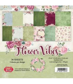 BLOC 36 FEUILLES 15 X 15 CM -  FLOWER VIBES
