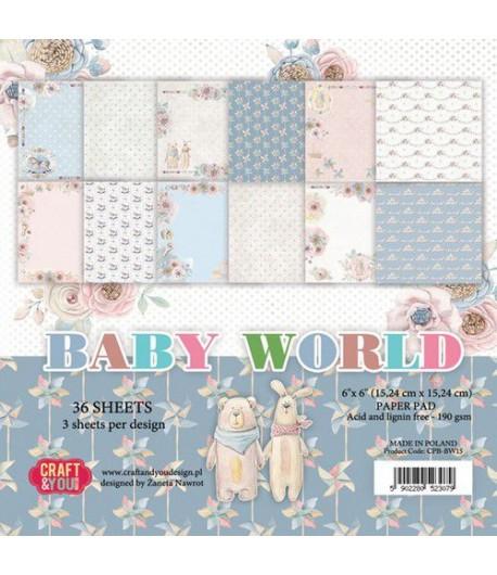 BLOC 36 FEUILLES 15 X 15 CM -  BABY WORLD