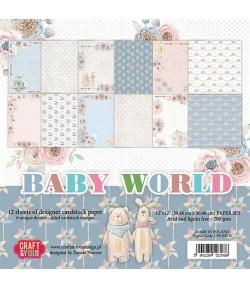 BLOC 12 FEUILLES 30.5 X 30.5 CM -  BABY WORLD
