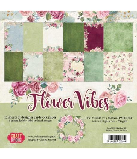 BLOC 12 FEUILLES 30.5 X 30.5 CM -  FLOWER VIBES