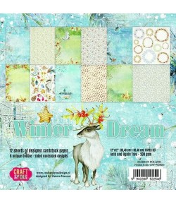 BLOC 12 FEUILLES 30.5 X 30.5 CM -  WINTER DREAM
