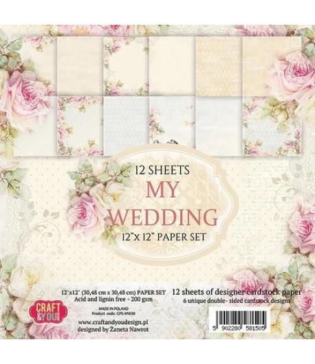 BLOC 12 FEUILLES 30.5 X 30.5 CM -  MY WEDDING