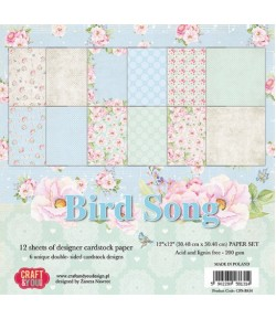 BLOC 12 FEUILLES 30.5 X 30.5 CM -  BIRD SONG