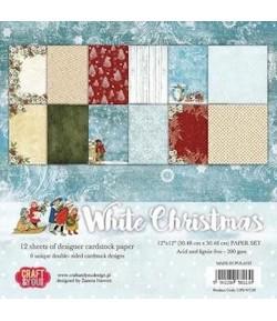 BLOC 12 FEUILLES 30.5 X 30.5 CM -  WHITE CHRISTMAS
