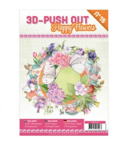 BLOC 3D A4 + PAPIERS -  HAPPY FLOWERS N°15
