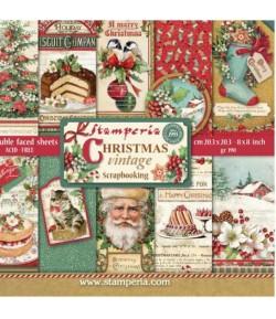 BLOC 10 FEUILLES CHRISTMAS VINTAGE 20.3 X 20.3 CM - SBBS02