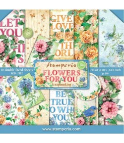 BLOC 10 FEUILLES FLOWERS FOR YOU 20.3 X 20.3 CM - SBBS05