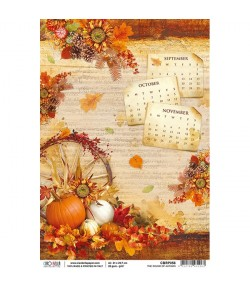 PAPIER DE RIZ THE SOUND OF AUTUMN 21 X 29.7CM CBRP058