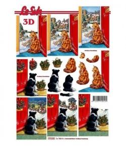 FEUILLE 3D CHAT ET CHIEN NOEL