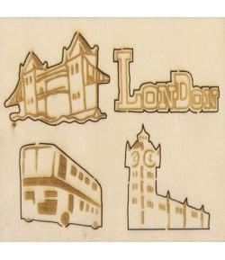 SUJETS BOIS LONDON X 4