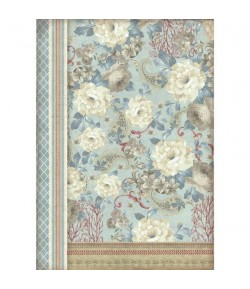 PAPIER DE RIZ DAHLIAS ON LIGHT BLUE A3 29.7 X 41.9 DFSA3039