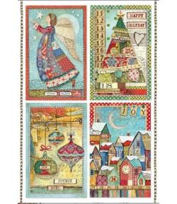 PAPIER DE RIZ A4 CARDS PATCHWORK 21 X 29.7 DFSA4408 STAMPERIA