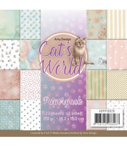 BLOC 23 FEUILLES 15 X 15 CM - CAT'S WORLD ADPP10029