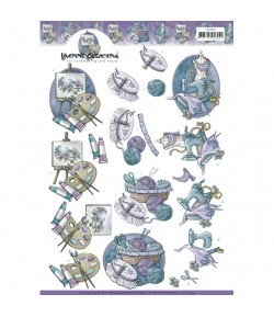 FEUILLE 3D PURPLE CRAFT CD11259