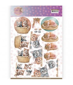 FEUILLE 3D CAT'S WORLD CD11368