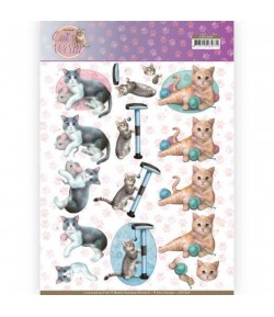 FEUILLE 3D CAT'S WORLD CD11369