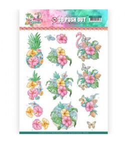 FEUILLE 3D HAPPY TROPICS TROPICAL FLOWERS - SB10362