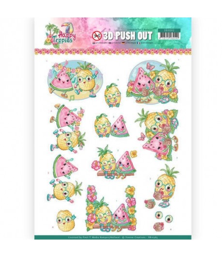FEUILLE 3D HAPPY TROPICS TROPICAL FRUITS - SB10363