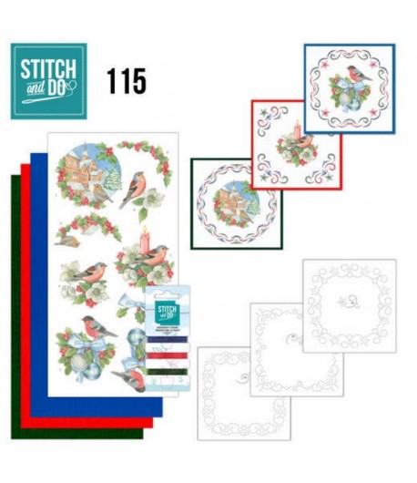 KIT 3D A BRODER CHRISTMAS BIRDS - 115 - STITCH AND DO