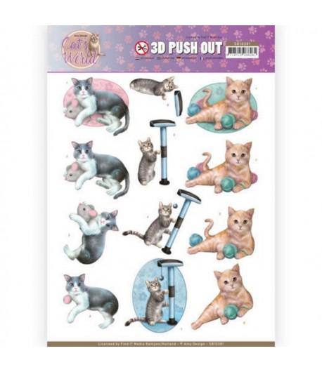 FEUILLE 3D CAT'S WORLD - SB10381