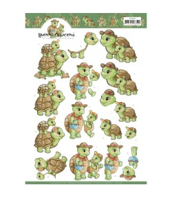FEUILLE 3D FAMILLE TORTUE CD11410