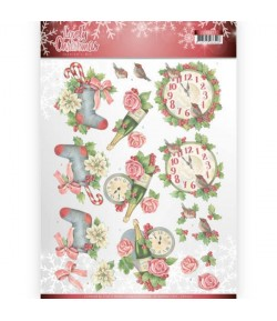 FEUILLE 3D LOVELY CHRISTMAS TIME CD11377