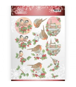 FEUILLE 3D LOVELY CHRISTMAS BIRDS CD11378