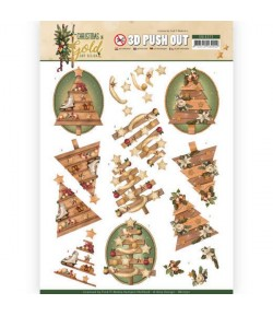FEUILLE 3D CHRISTMAS GOLD - SB10372