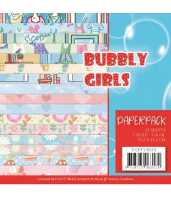 BLOC 23 FEUILLES 15 X 15 CM - BUBBLY GIRLS YCPP10023