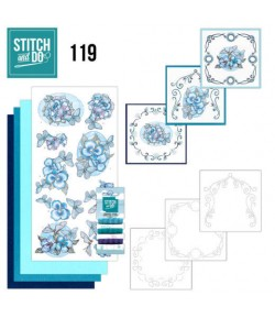KIT 3D A BRODER FLEURS BLEUES - STDO119